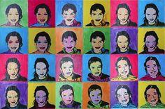 A la maniere de Warhol - bande de papier avec photos enfants en recto verso à peindre puis à fixer sur le bord des fenêtres