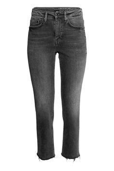 Straight High Ankle Jeans - Czarny denim - ONA   H&M PL
