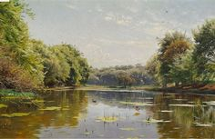 Artwork by Peder Mork Monsted, Ducks in a forest lake, Made of Oil on canvas