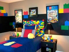 Lego Themed Bedroom = Awesome!  After seeing this my creative side went crazy thinking of all things you could do with a lego theme for decorating a kids bedroom.  Ill post more ideas.  I want to decorate a room now.