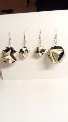 Origami oorbellen zwart-wit: Japanse Brocade en Sonobe Octahedral