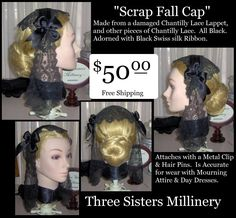 """One of my """"Scrap Caps"""" I acquired a box of 203 pieces of Black Chantilly Lace pieces, including 5 Lappets, a Fall Cap, many collars & cuff sets and lengths of lace up to 7 ft. long! In the mixture are damaged lappets, which make into pretty Half Caps. This Cap is shaped like a Fall Cap - perfect for widow's weeds! The pieces I used have no visible damage & it's adorned with black Swiss silk ribbon. Write SOLD in Comments - LOOK at the Price!!! I acquired this Lot of Lace at an unbelivable…"""