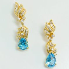 Lot # 22: Diamond Blue Topaz Earrings.  *NO RESERVE* Gold Rush Pays Auction Rodeo: July 30th at 2pm EST