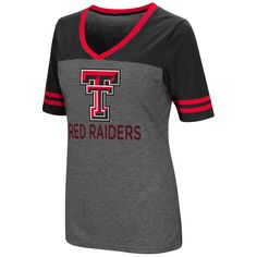 Texas Tech Red Raiders Colosseum Women's McTwist V-Neck Jersey T-Shirt - Black/Gray
