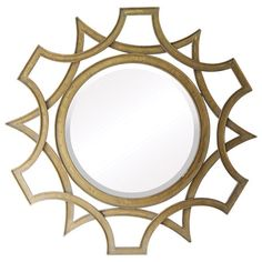 Metal wall mirror with a golden trellis-inspired frame.     Product: Wall mirror   Construction Material: Metal and m...