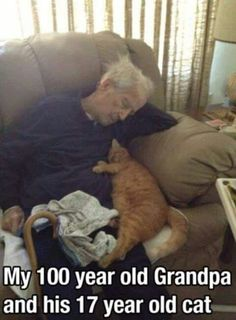 Not my Grandpa and my picture, but it's heartwarming <3 My old cat was 19, nearly 20 when he died