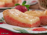 Strawberry Cheesecake Bars- so simple and yummy! // Abby- I made these for a couple different occasions and they are very good (rich and sweet).  Somehow I cannot cut them as neatly as the picture, but that doesn't matter too much if they are tasty.
