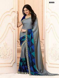 6c6929f62c186 Grey Color Weightless 7kg Print Saree - 8069 Saree Sale