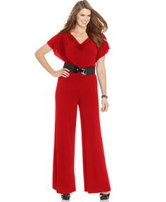 AGB Jumpsuit, Flutter Sleeve Wide Leg Belted - Suits & Separates -  Macy's
