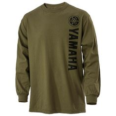 The Yamaha Vertical Olive Long Sleeve Tee is a 100% cotton regular fit long-sleeve jersey tee. Features a Yamaha logo screenprinted vertically in black on the front.