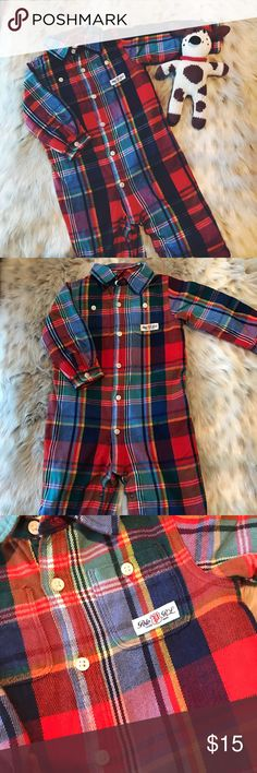 👶 Polo Ralph Lauren 6M Plaid Flannel Coverall 👶 💛 Gently used Polo Ralph Lauren plaid flannel coverall-- size 6M-- only worn a couple of times-- button and snap closure-- MISSING one snap (see last picture) otherwise perfect condition 💛 Polo by Ralph Lauren One Pieces