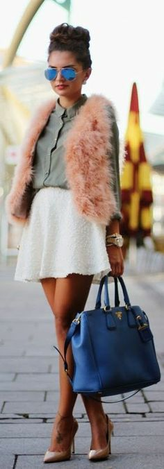 how perfect is this circle skirt and pink fur vest?!