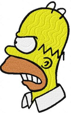 Homer Simpson embroidery design 4. Machine embroidery design. www.embroideres.com