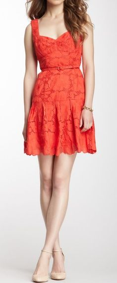 Coral lace dress by ajct