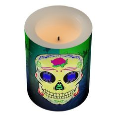 Yellow Sugar Skull with Purple Rose Flameless Candle - traditional gift idea diy unique