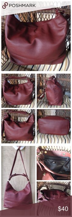 H&M Burgundy Leather Hand Bag Tote BNWT H&M. Burgundy faux leather hand bag tote. Super cute!! Inside zipper and pockets, shoulder strap. Measures 13x6x13. Brand new with tags! H&M Bags Totes