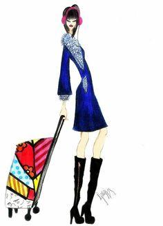 Croqui de moda: Viagem, inverno, bota, mala.