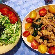 夏バテ対策&ヘルシーディナーに♪ - 16件のもぐもぐ - スタミナ豚肉ぶっかけ胡瓜サラダ&水菜の白和え✨ by satomi330