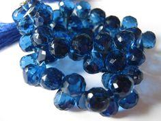Semi Precious Gemstone Briolette. Blue Hydro Quartz by LuxBeads
