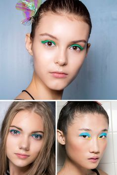 Electric Lids  Bursts of teal, cobalt and turquoise are the brightest new idea for eyes. Add a small dose with a thin line along the upper lashes, or go bold with an all-over-lid look.