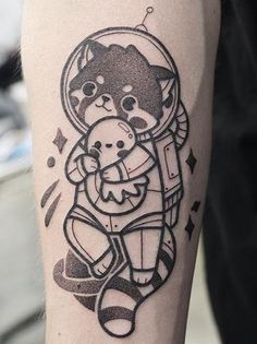 Hugo Tattooer red panda tattoo Blue Tattoo, Real Tattoo, Subtle Tattoos, New Tattoos, Hugo Tattooer, Panda Puppy, Gaming Tattoo, Art And Craft Design, Cool Tats