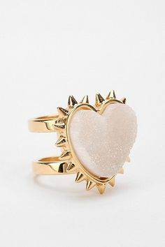 MariaFrancescaPepe Agate Heart Ring