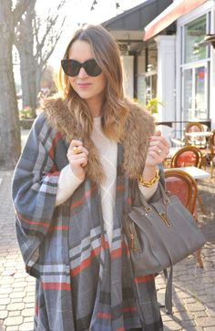 Need some holiday outfit inspiration? This plaid poncho is a must-have! Blogger @crdefilippo has got you covered! http://www.ohsoglam.com/target-holiday-style-faux-fur-plaid-poncho/