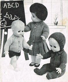 Dolls clothes knitting pattern for a 10, 12, 14 and 16 inch doll.  PDf for instant download.    Adorable vintage knitting pattern for Cardigan, trousers, skirt, leggings and bonnet.    Great stash buster and a must knit for any little girl who loves dressing her dolls in pretty clothes.    Knitted in D/K wool. Knits on number 8 & 11 needles (4.0 mm & 3.00mm). Tension 11 sts. and 15 rows to 2 inches.    Fits a variety of dolls including Baby Born, Newborn, 1st Annabelle, Chou Chou (16) Tiny…