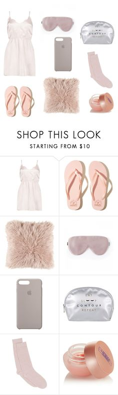 """Sleeping outfit"" by flavia-ramplan ❤ liked on Polyvore featuring Boohoo, Hollister Co., Apple, Pepper & Mayne and Lipstick Queen"
