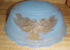 Vintage Victorian Style Round Frosted Blue Glass Ceiling Light Globe Lilies