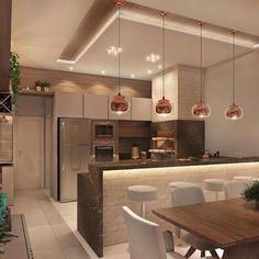 🥰 Projeto AT Arquitetura… Cozinha gourmet lindíssimaa! 😱🥰 Projeto AT Arquitetura Source Modern Kitchen Interiors, Luxury Kitchen Design, Kitchen Room Design, Diy Kitchen Decor, Interior Design Kitchen, Kitchen Ideas, Küchen Design, House Design, Open Plan Kitchen Living Room