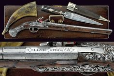 A cased flintlock pistol by Mutto with knife, provenance: North Italy  dimensions: length 55 cm.  dating: 18th Century