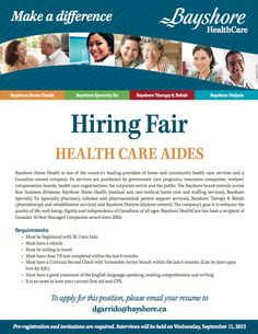 We're holding a #Hiring Fair for #HealthCare Aides in #Burnaby, #BC in September! Interested in attending? Please, connect with us. #careers #vancouver #yvr