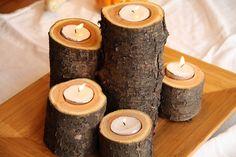 Подсвечники из деревянных спилов