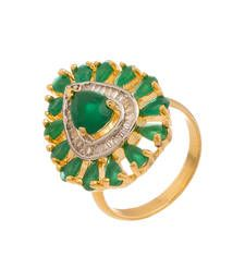 Buy Drop Green Stones Gold Plated Ring Ring online