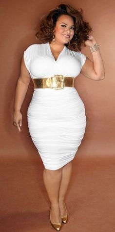 Curvy Woman White Dress Wide Gold Metal Belt and Gold High Heels