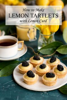 An easy recipe for lemon tartlets with lemon curd. Sweet pastry shells make the perfect container for the best lemon curd ever – it's so silky and smooth. Mini Desserts, Summer Dessert Recipes, Bite Size Desserts, Lemon Desserts, Lemon Recipes, Party Desserts, Recipes Dinner, Easy Recipes, Healthy Recipes