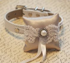 Love this collar/ringbearer pillow for Lily! -Ivory Ring Pillow, Ivory Pillow with parl and Rhinestone attach to the High quality Leather  Collar, Ring Bearer Pillow