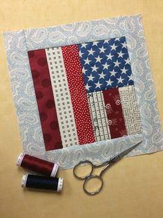 finished scrappy flag day quilt block