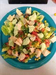 21 DAY FIX - Santa Fe salad - 2 green (romaine lettuce, tomato, corn), 1 red (Cajun chicken), 1 blue (pepper jack cheese), 1 orange (creamy avo dressing from recipe book), lime juice & cilantro
