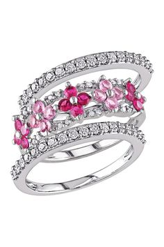 10K White Gold White Diamond, Created Ruby & Created Pink Sapphire Flower Ring Set