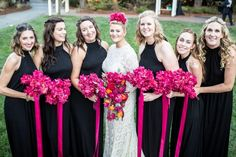 Fucshia bougainvillea bouquets with satin streamers from Seasonal Celebrations made this bride's vision of her Mexican-Boho themed wedding come true!  Photo courtesy of Frank J Lee Photography.