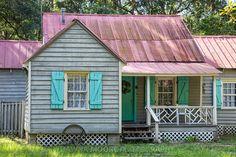 Gullah Home with Haint Blue Shutters, Daufuskie Island, South Carolina