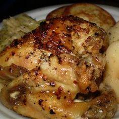 #favourites Chicken breast marinated in Apple Cider Vinegar: - 6 skinless, boneless chicken breasts - 5 tsp garlic salt - 1 C cider vinegar