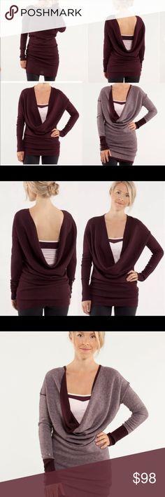 c843df651df Lululemon Serenity Sweater Wrap Lululemon Serenity Sweater Wrap Heathered Bordeaux  Drama   Heathered Pretty Pink Original