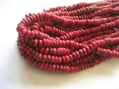 red coconut beads small rondelles discs spacer    2 by yukidesigns, $2.75