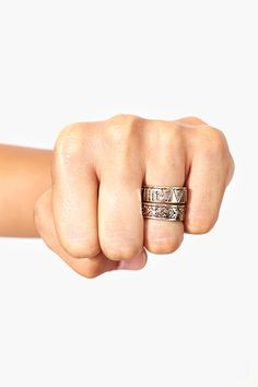 Stacked Aztec Rings in Accessories Jewelry at Nasty Gal