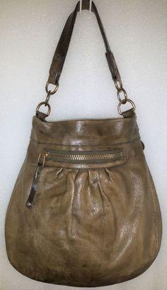 Rare Olive ROOTS Limited Edition OLIVIA Pleated Vintage Distressed Leather  bag  AuthenticROOTSluxurydesignerbag ... 8945f2d579665