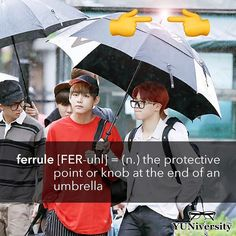 "The random #WordoftheDay is ""ferrule"" (also spelled ""ferule"") [FER-uhl] which means 'the protective point or knob at the end of an umbrella.'  (We're not sure when you'll ever use this word but hey knowledge is power.)  #vocabulary #ferrule #ferule #umbrella #bts #jimin #taehyung"