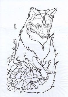 Fox Tattoo Stencil